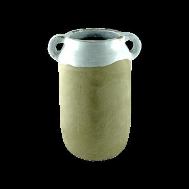 Vaza Lora din ceramica gri cu alb 19 cm