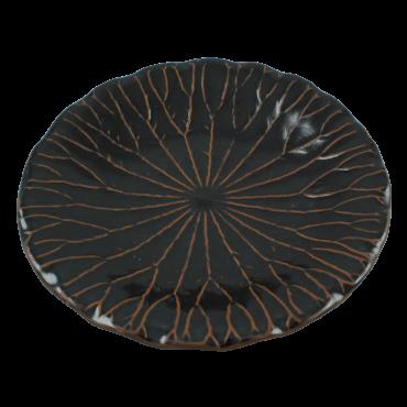 Platou frunza de lotus din ceramica neagra 26 cm