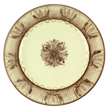 Platou din ceramica cu flori maro 30 cm