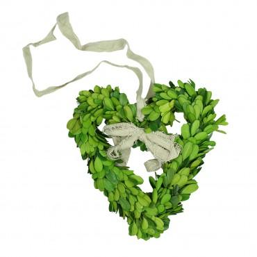 Coronita decorativa inima din buxus verde 15 cm