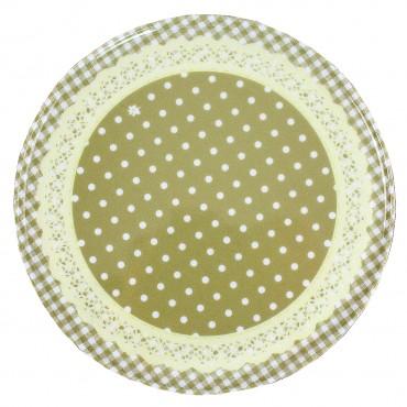 Tava rotunda Dots crem cu buline 18 cm