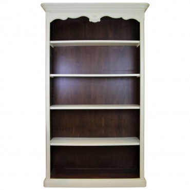 Biblioteca Tresor din lemn alb cu maro inchis 120x42x207 cm