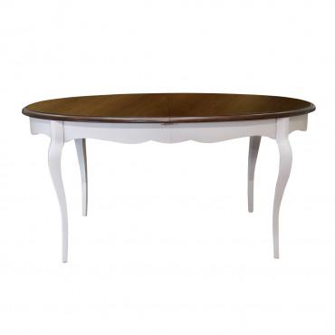 Masa ovala Chocolat din lemn alb si maro inchis 160x110x78 cm