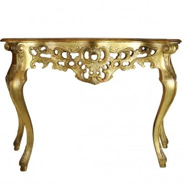 Consola Regia din lemn auriu antichizat 124x40x80 cm