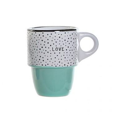 Cana Colors Love din ceramica turcoaz 12 cm