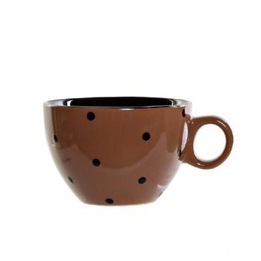 Cana Dots din ceramica maro 8 cm