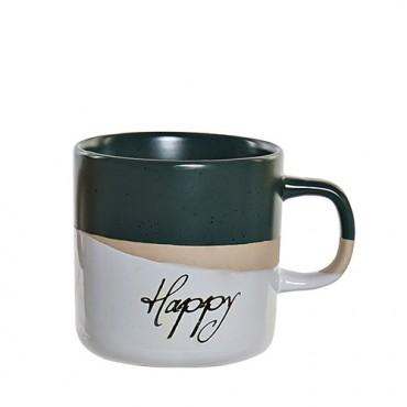 Cana Happy din ceramica verde 9 cm