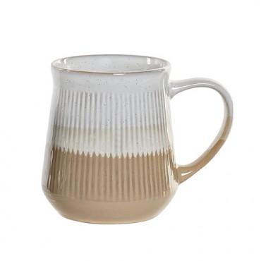 Cana Lines din ceramica alba cu bej 12 cm