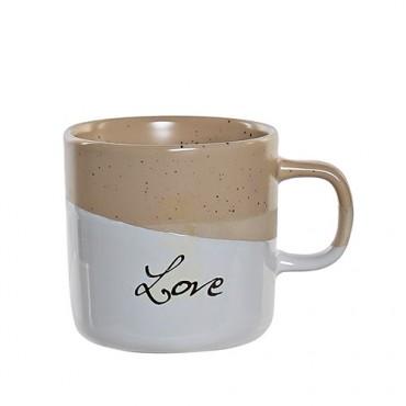 Cana Love din ceramica crem 9 cm