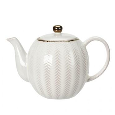 Ceainic Boho din ceramica alba 16 cm - modele diverse