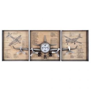 Ceas Airplane din trei piese 205x28x75 cm