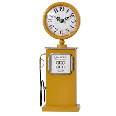 Ceas Vintage Gas Pump din metal galben 13x75 cm