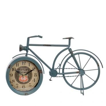 Ceas Vintage in forma de bicicleta din metal gri 24 cm