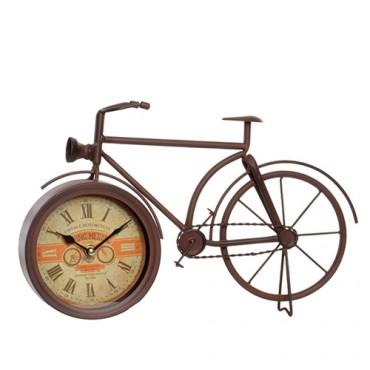 Ceas Vintage in forma de bicicleta din metal maro 24 cm