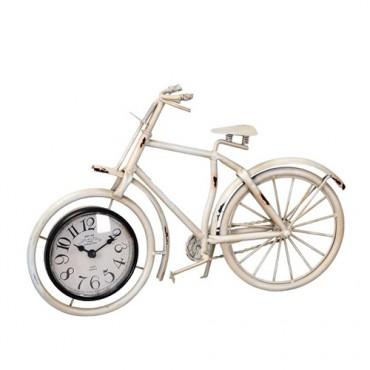 Ceas Bike din metal crem 38.5x25 cm