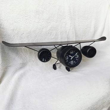 Ceas Plane din metal negru 87x25 cm
