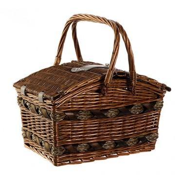 Cos picnic Country din rachita maro 40x26x20 cm