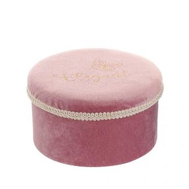 Cutie Elegant din catifea roz 16x9 cm
