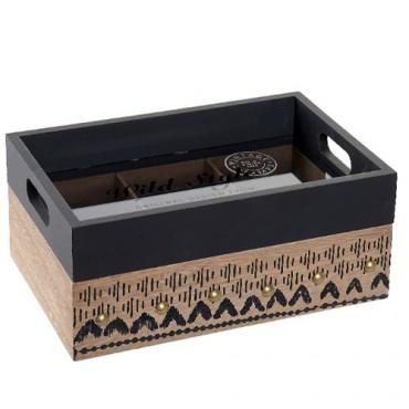 Cutie pentru ceai Style din lemn si sticla 24x15 cm