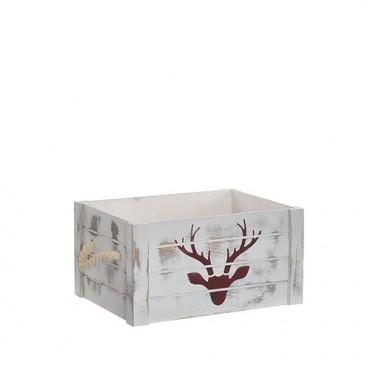 Cutie din lemn gri cu model ren 35x25x18 cm