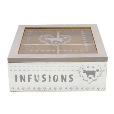 Cutie pentru cei Infusions din lemn alb 18x18x7 cm