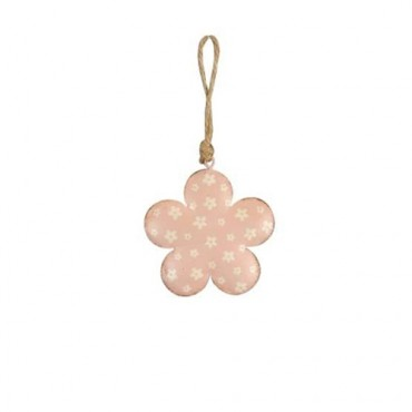 Deco Happy Flower din metal roz 8 cm