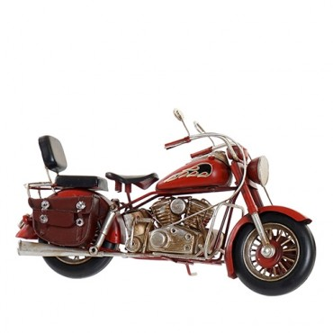 Decoratiune Motorcycle din metal maro cu rosu 27x9x15 cm