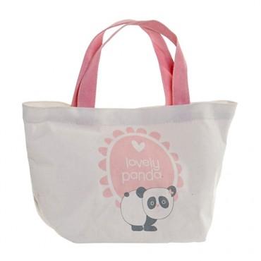 Geanta Panda din textil alb cu roz 34x14x32 cm
