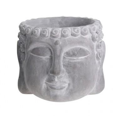 Ghiveci Buddha din ciment gri 16x12.5 cm