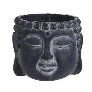 Ghiveci Buddha din ciment negru 16x12.5 cm