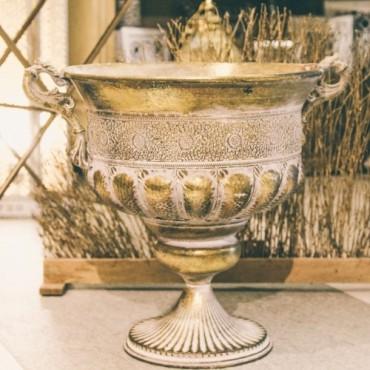 Ghiveci Artizan din metal alb auriu 47x36x41 cm
