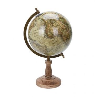 Glob Vintage Terra din lemn crem 38 cm