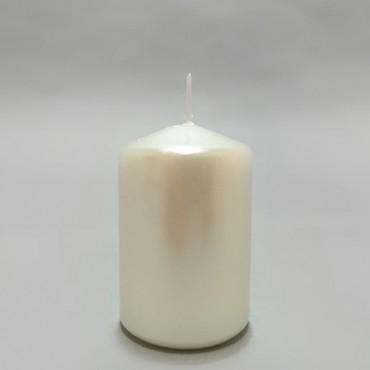 Lumanare alba perlata 8 cm