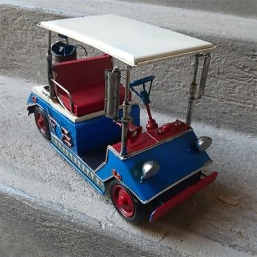 Macheta Golf Cart din metal albastru 11x5cm