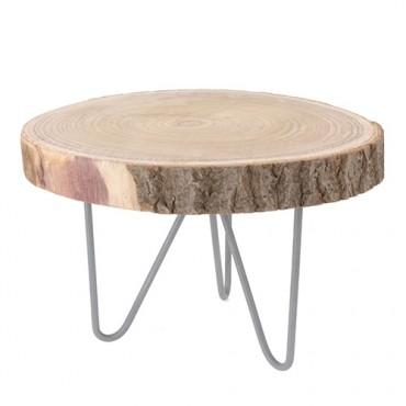 Masuta Danish din lemn si metal 39x24 cm