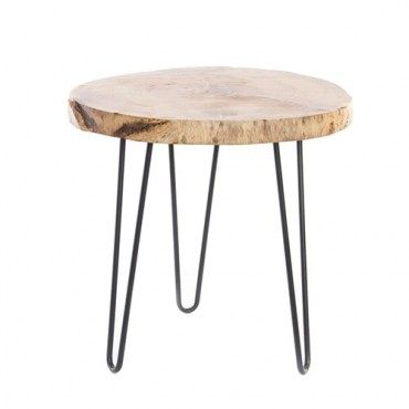 Masuta Danish din lemn si metal 46x44 cm