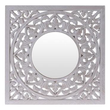 Oglinda patrata Mango din lemn alb antichizat 50x50 cm