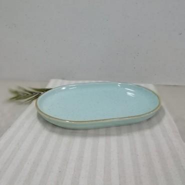 Platou oval Gardena din ceramica turcoaz 33x24 cm