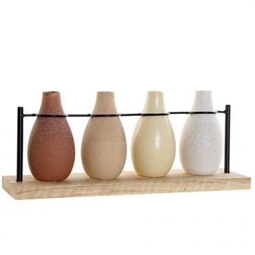 Set 4 vaze Deco din dolomita pe suport din lemn 33.6x14 cm
