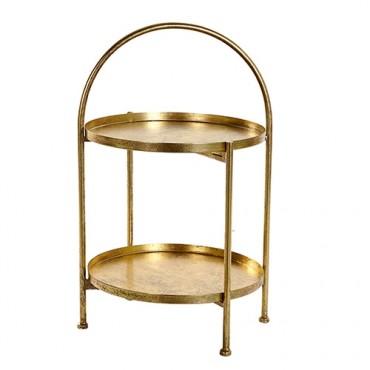 Suport etajat Golden din metal auriu 38x61 cm