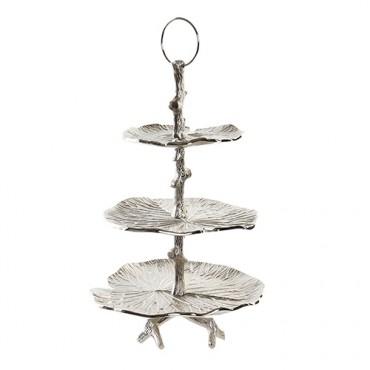 Suport etajat Lilies din metal argintiu 32x50 cm
