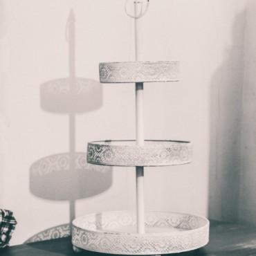 Suport etajat Bianco din metal alb 68 cm