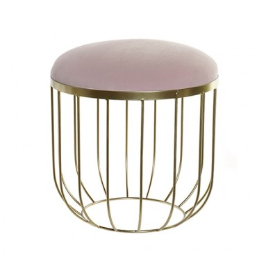 Taburet Soft Pink cu suport din metal auriu 36.5x38 cm