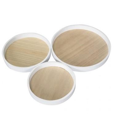 Tava rotunda Natur din lemn 33 cm