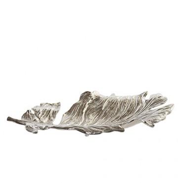 Tava Silver Leaf din metal argintiu 50x25 cm