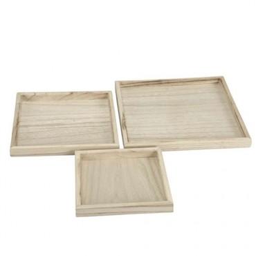 Tava Square din lemn de Paulownia 20 cm