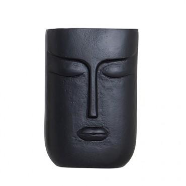 Vaza Face din metal negru 15x23 cm