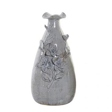 Vaza Flowers din ceramica gri 33 cm