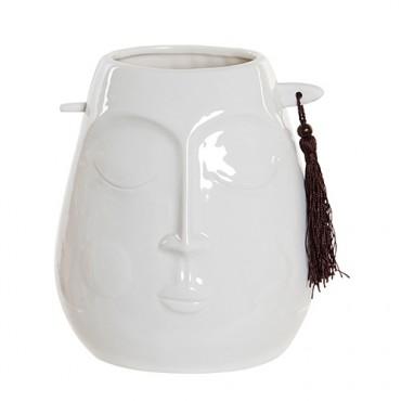 Vaza Tribal Face din ceramica alba 16 cm