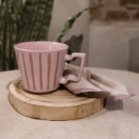 Cana Boho din ceramica roz 9 cm